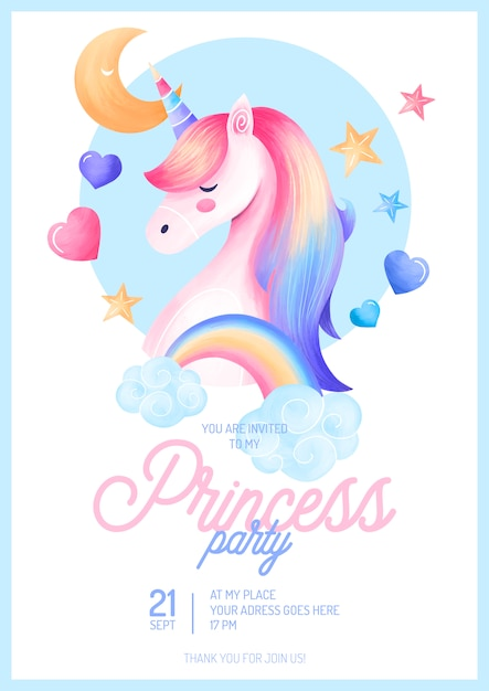 cute princess party invitation template