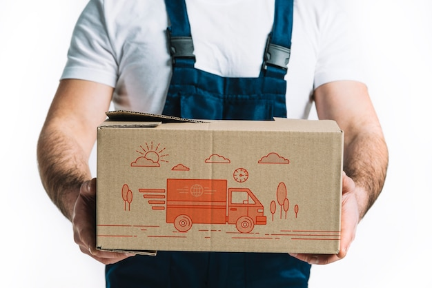 Download Delivery mockup with man holding box | Free PSD File