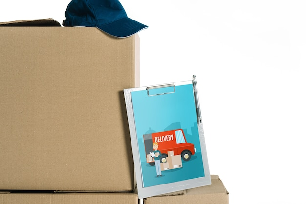 Download Delivery mockup with tablet on boxes PSD file | Free Download