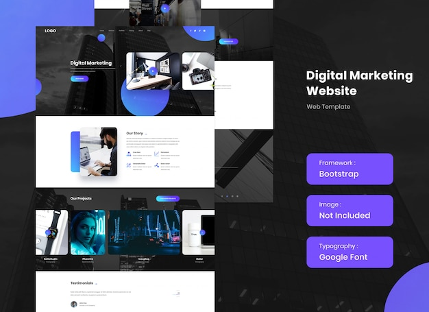 It has content tabs and carousel. Premium Psd Digital Marketing Agency Website Template