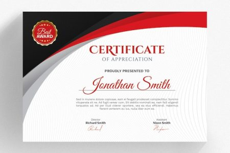 Modern red certificate template PSD file   Premium Download Modern red certificate template Premium Psd