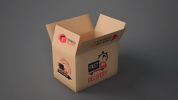 Download Free PSD | Open delivery box mockup