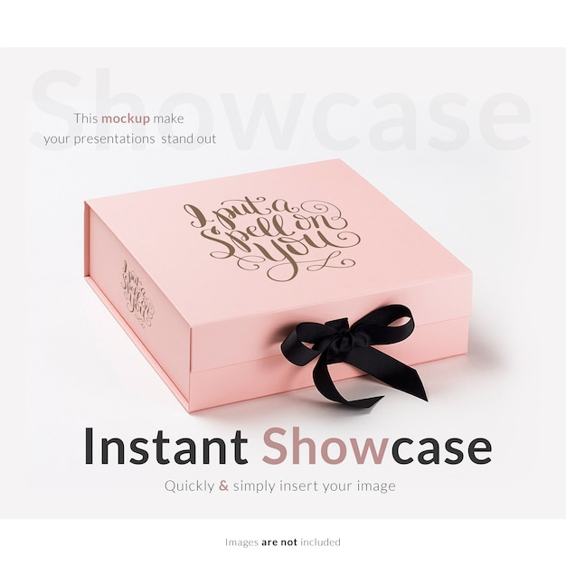 Pink Gift Box Mock Up PSD File Free Download