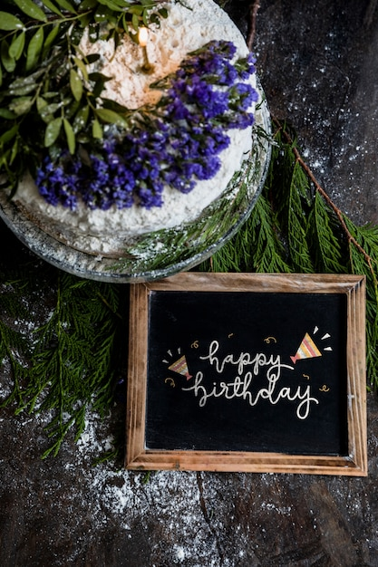 Download Slate mockup with birthday cake | Free PSD File