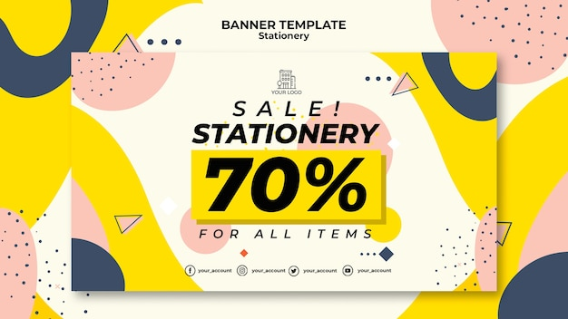 Stationery Sales Banner Web Template Free Psd File