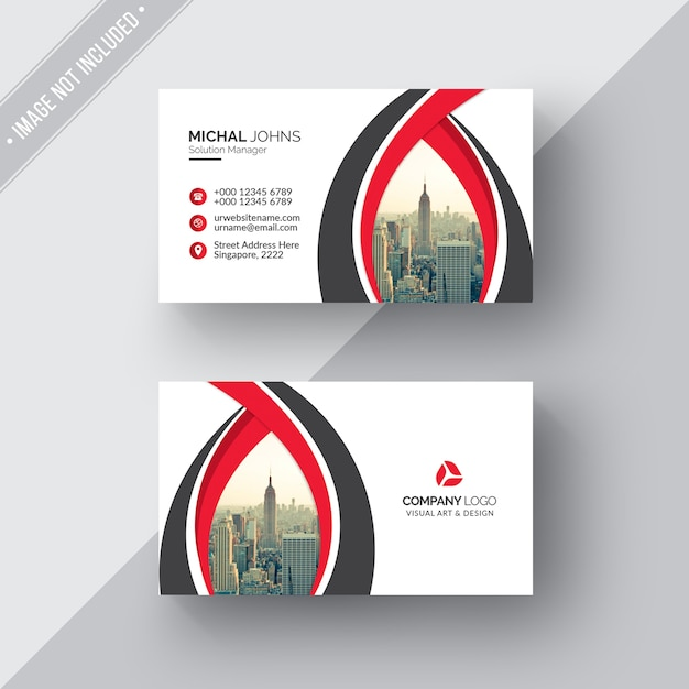 White Business Card With Red And Black Details PSD File