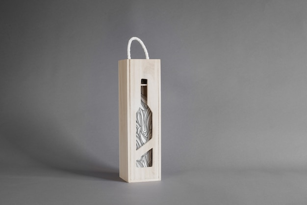 Download Wine bottle in wooden box mockup PSD file | Free Download