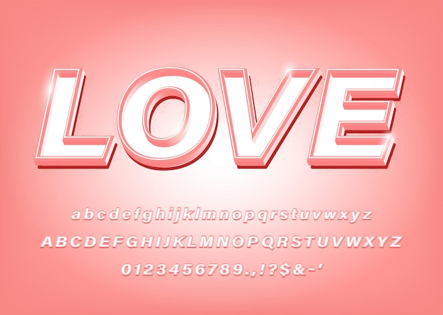Download 3d pink alphabet love bold font effect for title | Premium ...