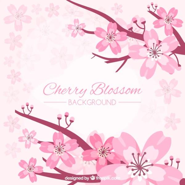 Красивый фон из цветущей вишни в плоском дизайне Вектор