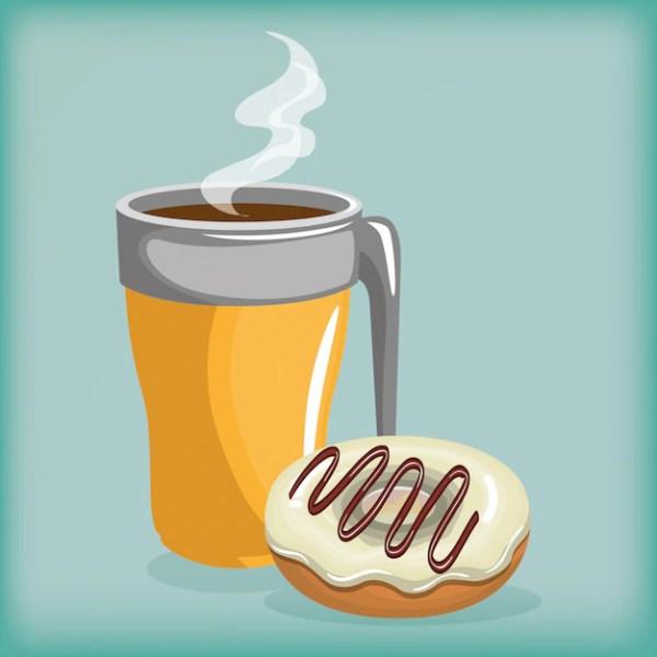 Иллюстрация вкусные чашки кофе и пончики | Бесплатно векторы