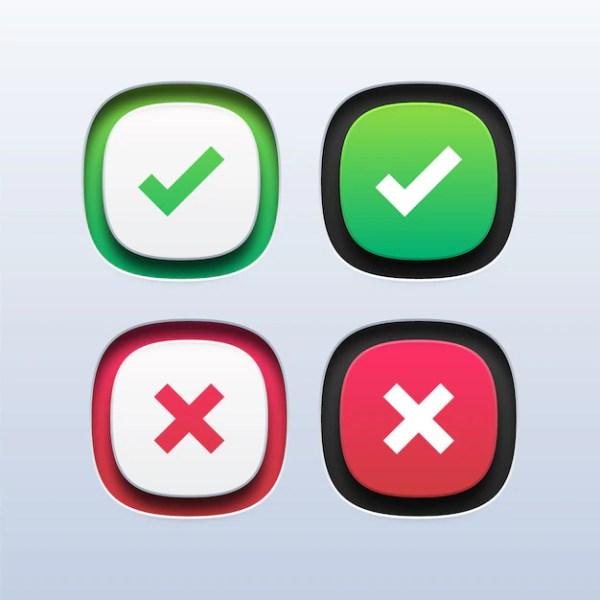 Зеленая галочка и значок красного креста | Премиум векторы