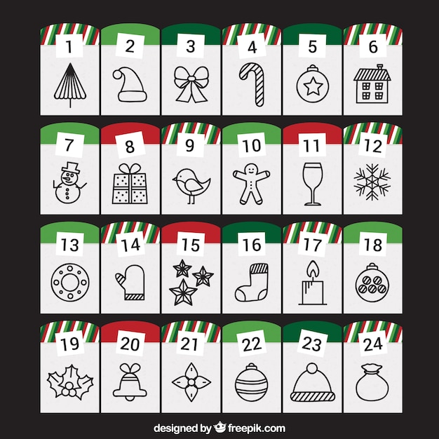 Advent Calendar With Christmas Drawings Vector Free Download