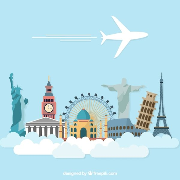 Airplane holidays travel with world monuments Vector ...