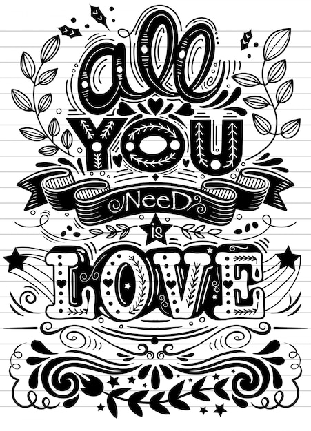 Download All you need is love hand drawn lettering. vector vintage ...