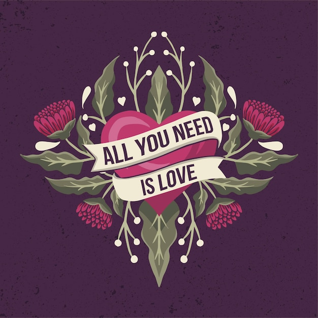 Download All you need is love quote on a ribbon with heart and ...
