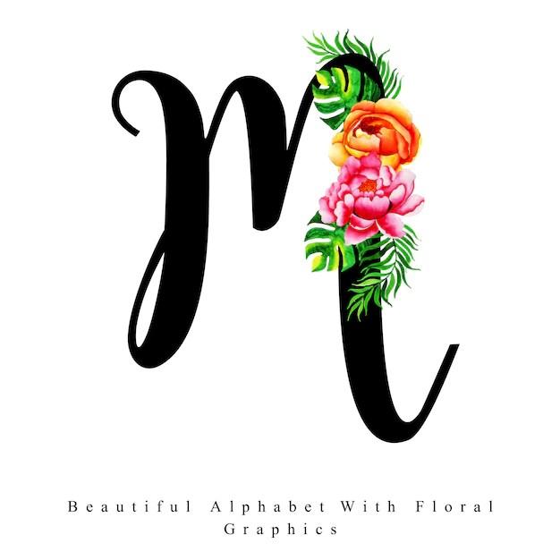 Premium Vector Alphabet Letter M Watercolor Floral Background