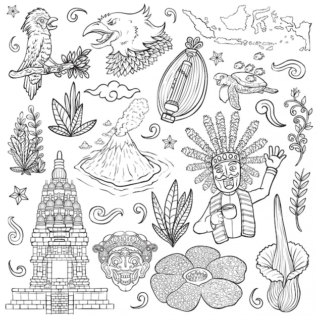 Premium Vector Amazing Culture Flora And Fauna Indonesia Outline Isolated Illustration