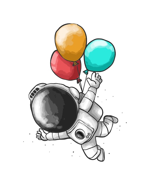 Astronaut balloon cartoon Vector Premium Download