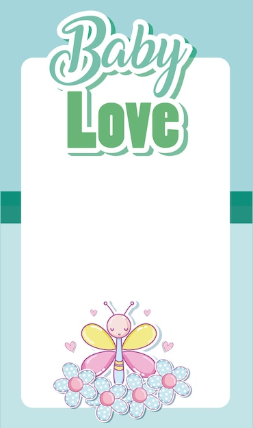 Download Baby love card with blank frame and cute cartoons ...