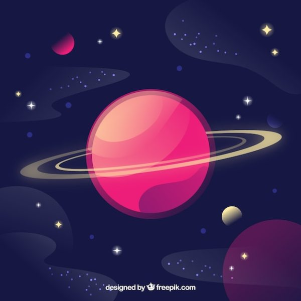 Background of beautiful planet and stars Vector | Free ...