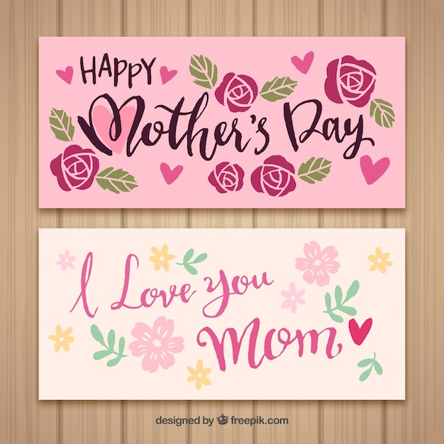 Download Banners happy mother's day i love you mom | Free Vector