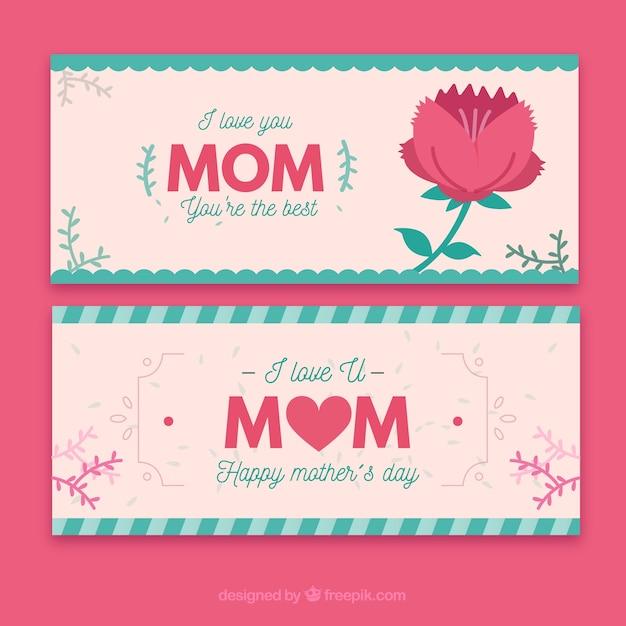 Download Banners i love you mom you are the best | Free Vector