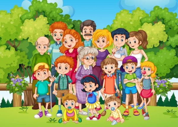 A big family at the garden Vector | Free Download