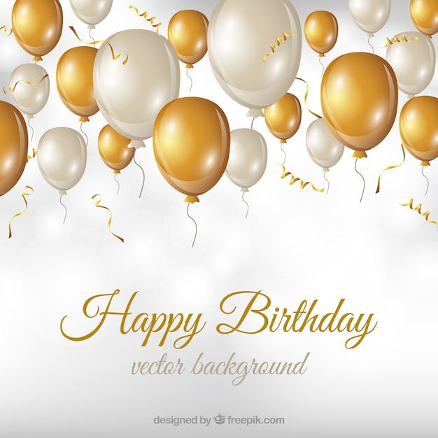 Birthday Background With White And Golden Balloons Vector
