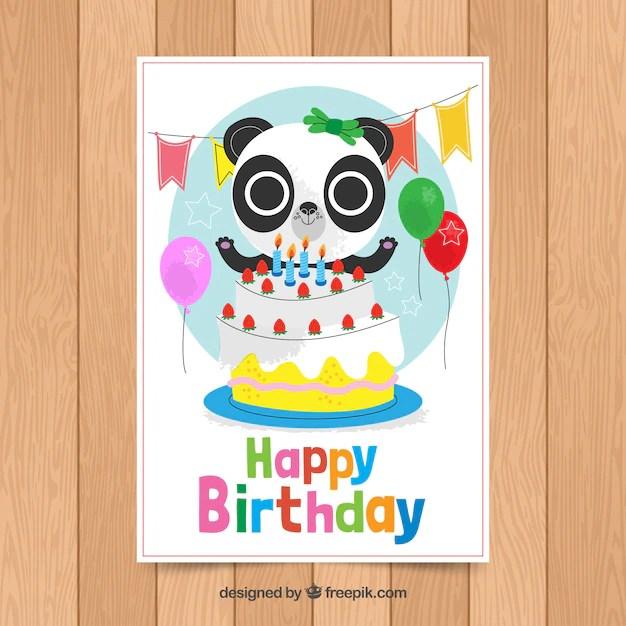 birthday card template with cute panda