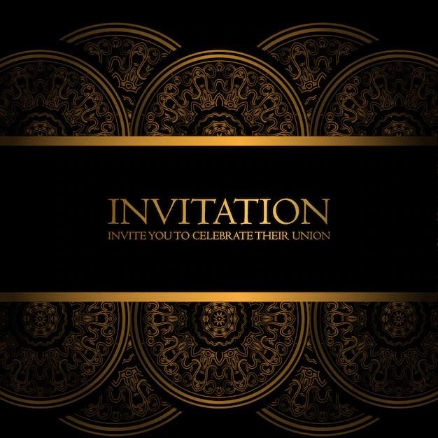 black and gold invitation free vector