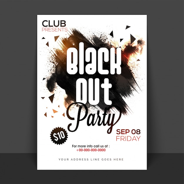 Black Out Party Poster Banner Or Flyer With Abstract