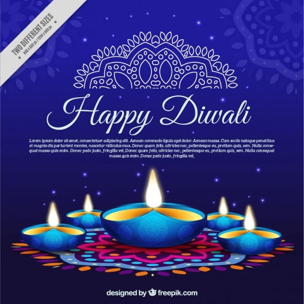 Blue Background With Candles Diwali Vector Free Download
