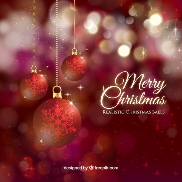 Bokeh bright christmas balls background Free Vector