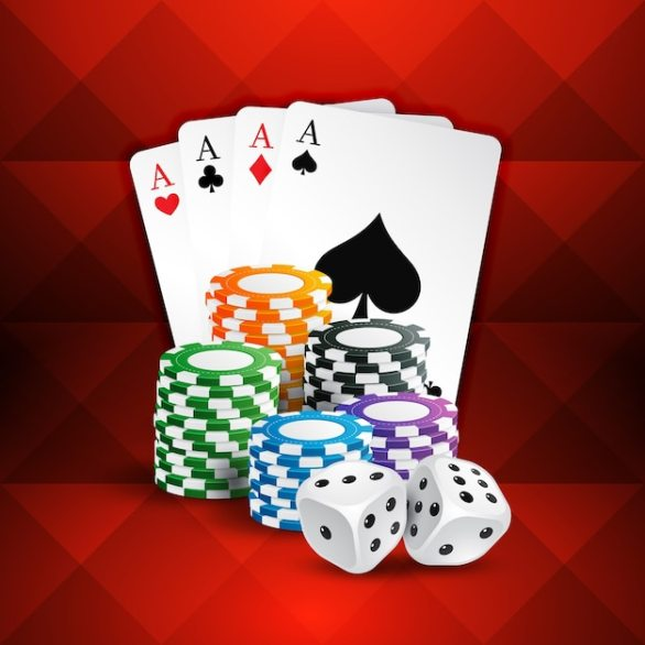 Free Vector | Cards with casino coins
