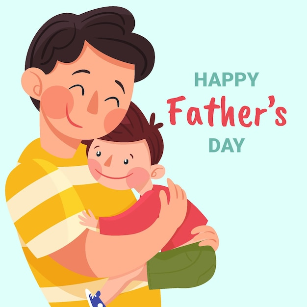 Father hugging son - Father's day Illustration Free Vector