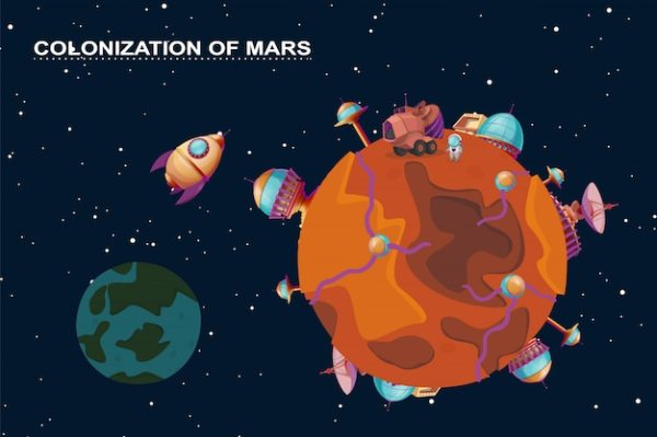 Cartoon mars colonization concept. red planet in space ...