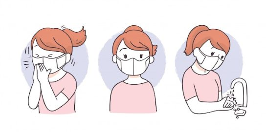 Cartoon protect virus, woman wearing face mask, cough and wash ...