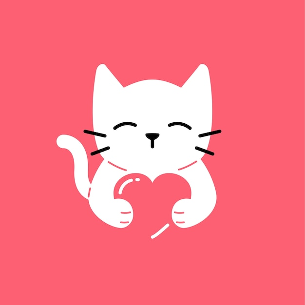 Download Cat love cute smile hug lover vector logo icon ...