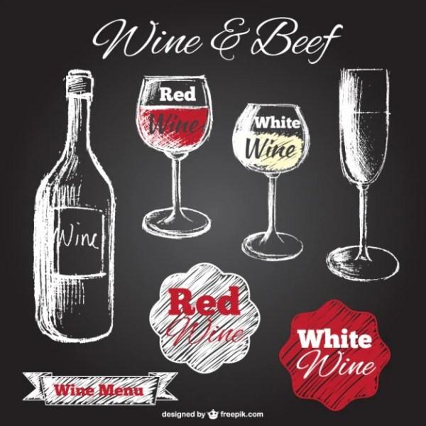 Chalk drawn wine glasses and bottle on blackboard Vector