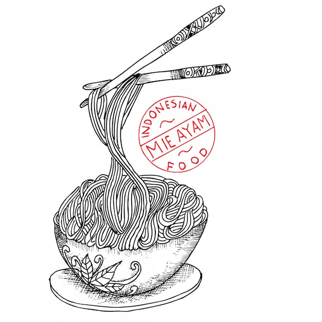 Premium Vector Chicken Noodle Indonesian Food Doodle