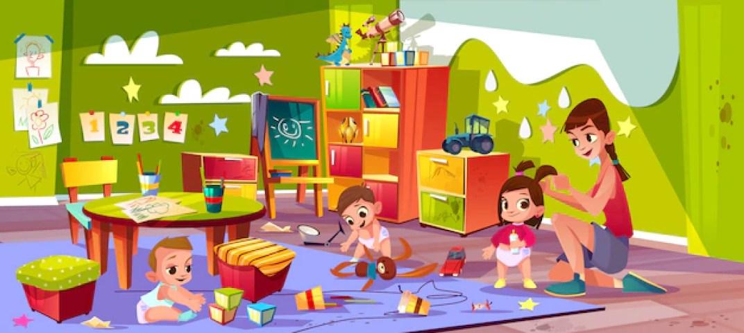 Free Vector   Children in nursery school cartoon vector.
