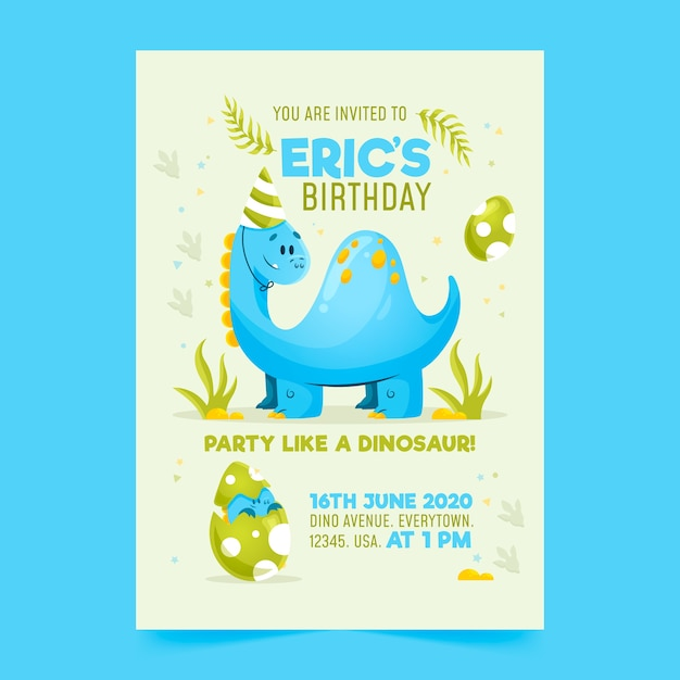 birthday invitation template with dinosaur