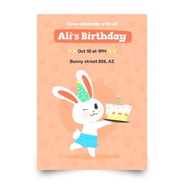 birthday invitation template with rabbit