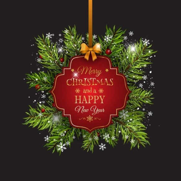 Christmas background with a red hanging label Free Vector