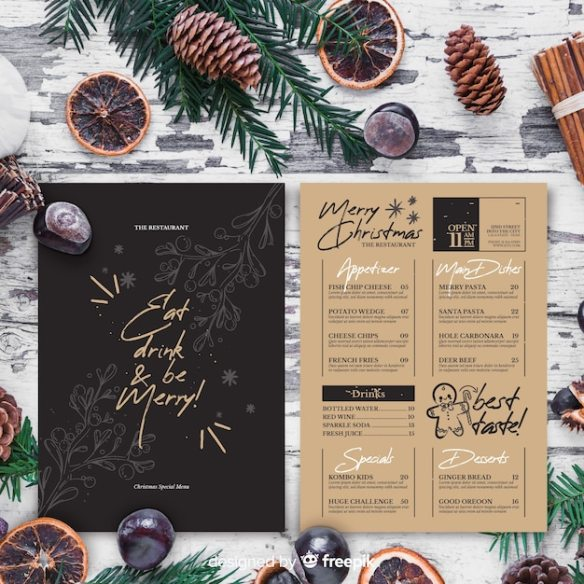 Christmas menu template in vintage style Free Vector