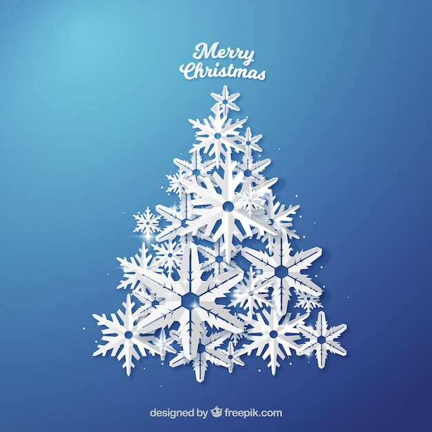 Christmas tree background made of snowflakes Free Vector