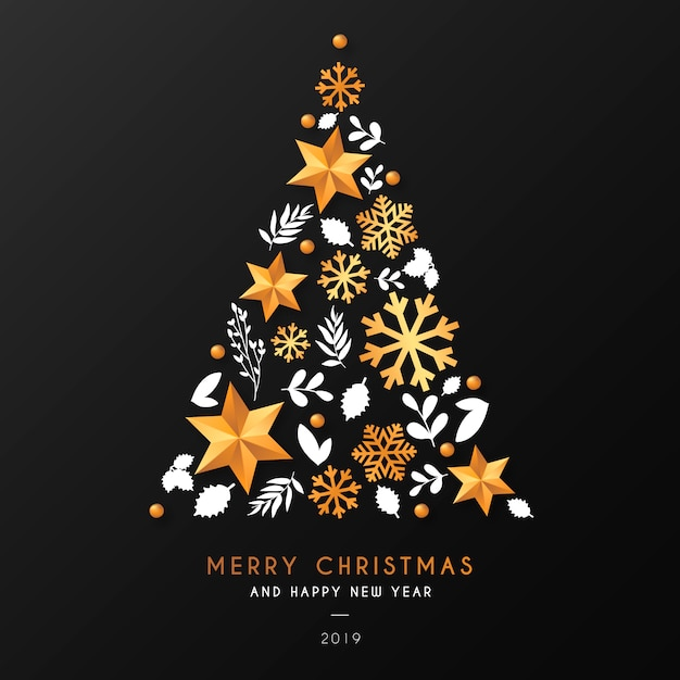 Christmas Tree Background with Ornamental Elements Free Vector