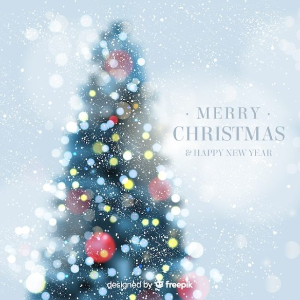 Christmas Tree Bokeh Background Free Vector