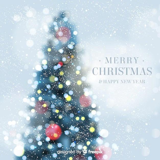 Christmas Tree Bokeh Background Free Vector