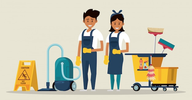 Cleaners with cleaning products housekeeping service Free Vector